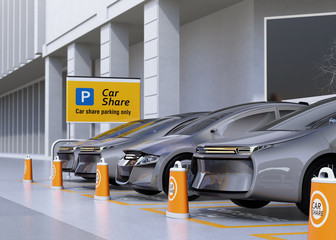 Fleet of autonomous vehicles in parking lot for sharing. Car sharing business concept. 3D rendering image.