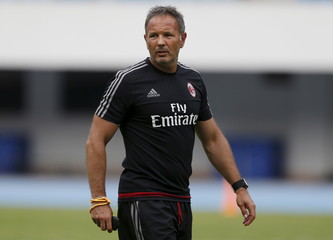 Mihajlovic looks on during a training session in Shenzhen
