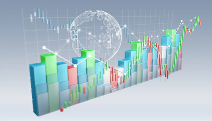 Digital 3D rendered stock exchange stats and charts