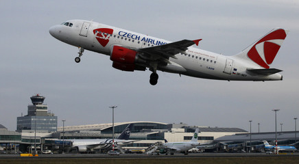 A Czech Airlines Airbus A319 takes off in Prague's Vaclav Havel Airport
