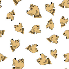 Head of Dog Seamless Pattern Isolated on White Background