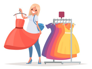 Women's shopping. The girl is trying on a new dress in the store