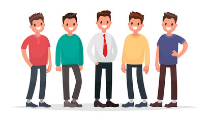 Group of guys. Set of male characters on a white background. Vector illustration in a flat style Wall mural