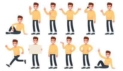 Set of a guy in casual clothes in different poses. A character for your project. Vector illustration in a flat style Wall mural