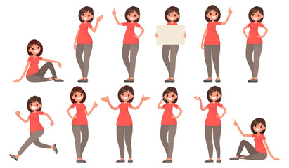 Set of a woman in casual clothes in different poses. A character for your project. Vector illustration