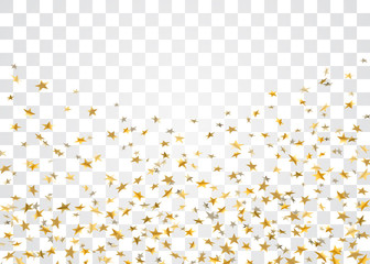 Gold stars falling confetti isolated on white transparent background. Golden abstract pattern Christmas card, New Year holiday. Confetti paper stars. Glitter explosion on floor Vector illustration