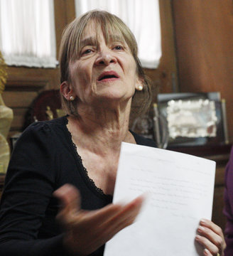 Estela de la Cuadra, who is seeking for her missing family members during the so-called Argentina's 1976s Dirty War shows a handwritten letter from then Jesuit leader Jorge Bergoglio, now Pope Francis in Buenos Aires