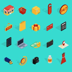 Set of colorful icons online shopping