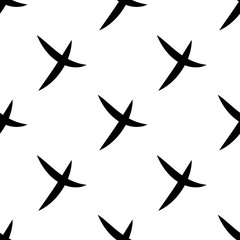 Seamless pattern of check mark icons simple on white background. Black cross. Vector illustration