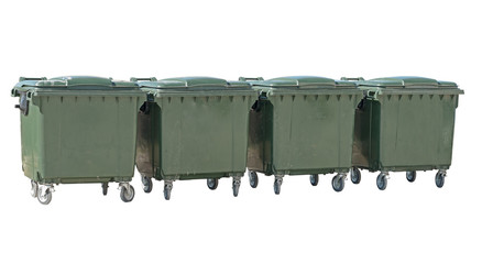 big garbage containers on a white