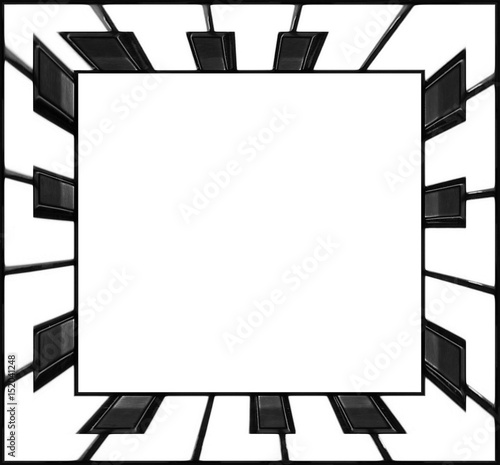 Square frame piano keyboard keys frame black and white. Classical ...