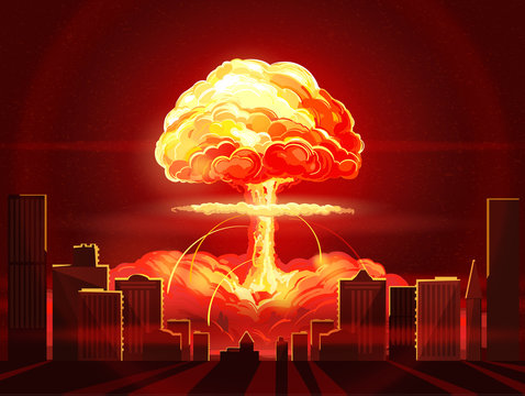 Nuclear explosion. Atomic bomb in the city. Symbol of nuclear war, end of  world,  dangers of nuclear energy