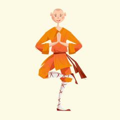 Smiling Shaolin Monk. Kung Fu. Meditating.