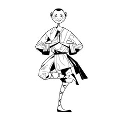Smiling Shaolin Monk. Black and white.
