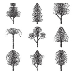 Halftone Trees Collection