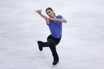 Jason Brown of the U.S. practices during a training session before the ISU Bompard Trophy event at Bercy in Paris