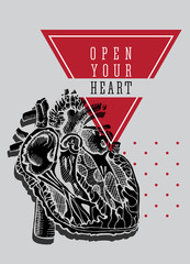 Human heart. Hand drawing vintage illustration