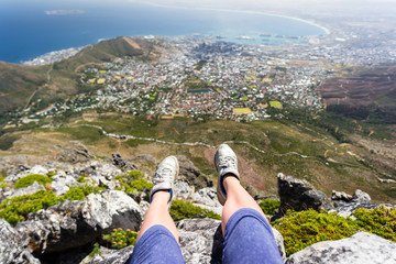 A girl on top of Table Mountain, Cape town