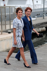 "Cast members Emma de Caunes and Sarah Green pose during a photocall for the television series ""Ransom"" during the annual MIPCOM television programme market in Cannes"