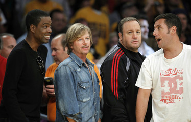 Chris Rock, David Spade, Kevin James and Adam Sandler talk before Game 1 of the 2010 NBA Finals basketball series in Los Angeles