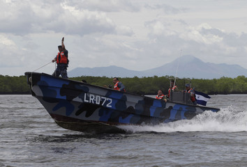 Members of Naval Force participate in a training exercise at the Corinto port in the Pacific Coast of Nicaragua