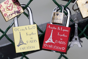 Padlocks with the Eiffel tower clipped by lovers are seen on the fence of the Pont des Arts over the River Seine in Paris