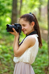 Young girl making a picture
