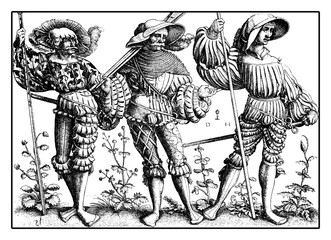 Lansquenet formidable and colorful mercenary soldiers on foot, from Daniel Hopfer engraving, XVI century