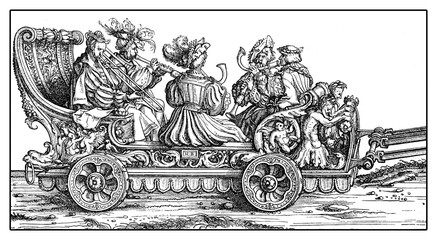 Chariot with trumpets and horns in festive procession from Hans Burgkmair's Triumph of  Maximilian I, woodcut print from XVI century