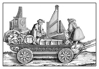 Carriage with organ and musicants playing in festive procession, from Hans Burgkmair's Triumph of  Maximilian I, woodcut print from XVI century