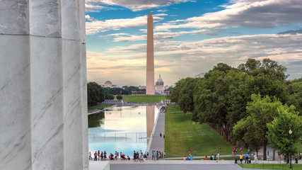 Washington Monument from Lincoln Memorial at sunset, Washington, DC, USA.