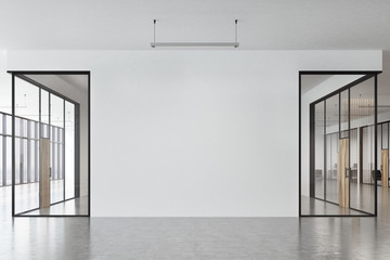 Office corridor, panoramic, front