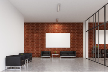 Office waiting area, brick, front