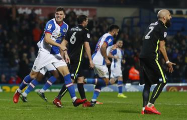 Blackburn Rovers' Sam Gallagher celebrates scoring his sides first goal