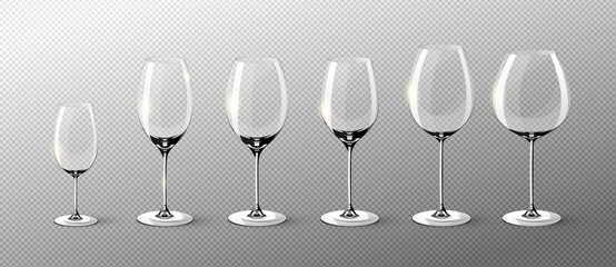 Realistic Empty Wine Glasses Collection