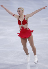 Amelie Lacoste of Canada performs during her ladies short program at the ISU Bompard Trophy event at Bercy in Paris