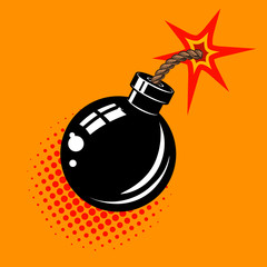 Cartoon bomb with fire illustration. Design element in vector.