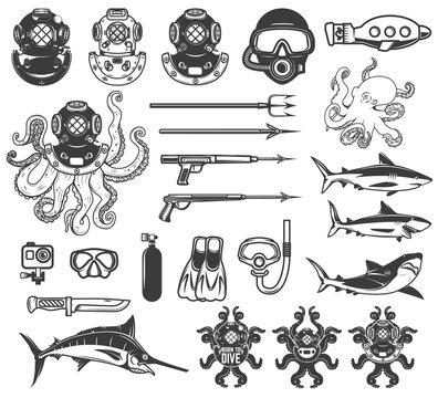 Big set of diving icons. Diver equipment, weapon, sea animals. Design elements for logo, label, emblem, sign, poster,t-shirt. Vector illustration