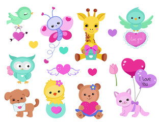 Collection of cute cute animals for Valentine's Day, weddings, congratulations, declarations of love.