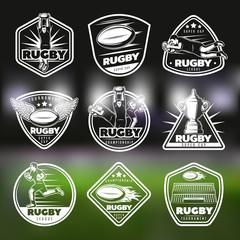 White Vintage Rugby Labels Set