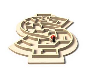 Man pushing red ball in money shape maze game