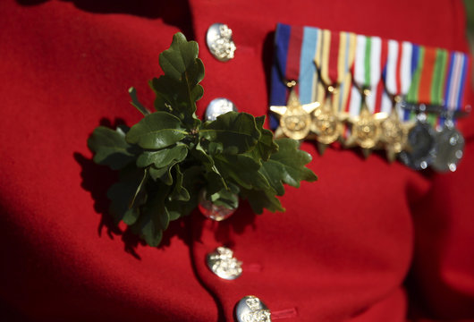 A Chelsea Pensioner displays medals and oak leaf decoration before the Founder's Day Parade at the Royal Hospital Chelsea in London