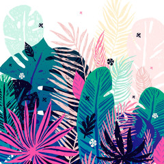Multicolor trendy tropical background, exotic leaves. Vector botanical illustration, elements for design.