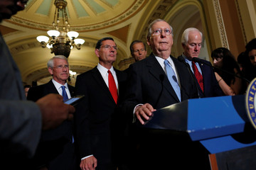 McConnell is flanked by fellow Republican leaders Wicker, Barrasso, Thune and Cornyn as he speaks to reporters at a news conference following their weekly party caucus meeting at the U.S. Capitol in Washington