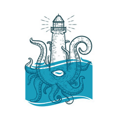 Hand drawn vintage lighthouse monster with tentacles and one eye. Creative original vector illustration in hipster retro style. Style design background for tattoo, textile, cover, poster.