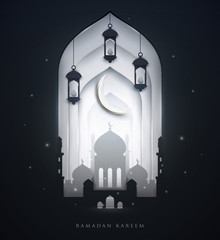 Islamic beautiful design template. Glowing mosque at night with lanterns and moon on white background in paper cut style. Ramadan kareem greeting card, banner. Vector illustration.