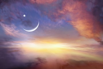 Sunset and moon . Glowing sunset . Ramadan Kareem   . Sunset sky