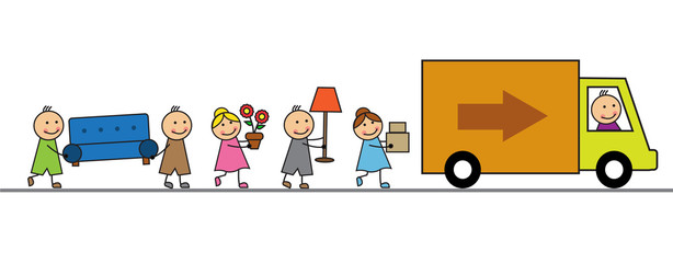 The family loads things in the lorry and is about to move to another house