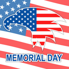 Memorial Day with eagle in national flag colors. Vector illustration
