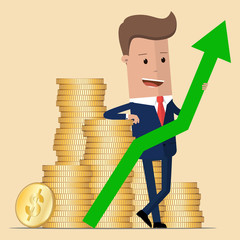 Businessman standing next to a stack of gold coins and holding a green up arrow. Vector, illustration